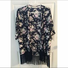 AF navy floral kimono with fringe Rarely worn.  In like new condition. Abercrombie & Fitch Tops Blouses