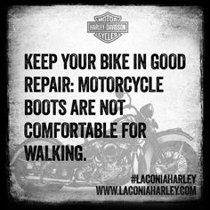 Keep your bike in good repair: motorcycle boots are not comfortable for walking Motorcycle Humor, Motorcycle Tips, Triumph Motorcycles, Harley Davidson Motorcycles, Custom Motorcycles, Dirt Track Racing, Auto Racing, Dirt Bike Girl, Custom Baggers