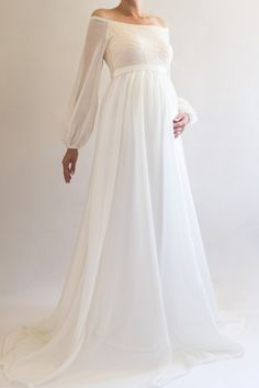 ANNABELLE Boho Maternity Dress for Baby Shower, Bohemian Wedding Maternity Gown, Chiffon Maternity Dress for Photoshoot, Long Sleeved Dress Boho Maternity Dress, White Maternity Dresses, Maternity Dresses For Photoshoot, Maternity Dresses For Baby Shower, Maternity Fashion, Boho Dress, Maternity Pictures, Spring Maternity, Maternity Evening Gowns
