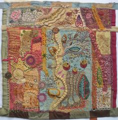 Samples by Meg Fowler from Arlee Barr's FrankenStitch class. Incredible wild and wonky FUN!!!