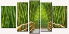 Startonight Glass Wall Art Acrylic Decor Bamboo Aleey, 5 Stars Gift and a Contemporary Clock Set of 5 Total X Inch Original Green Artwork the Ultimate Wall Art!