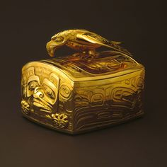 Bill Reid Gold box with Haida bear design and 3D Eagle perched on lid