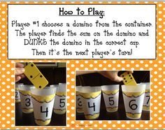 Dunk It Dominoes addition game for primary students Preschool Math, Math Classroom, Kindergarten Math, Teaching Math, Math Activities, Teaching Ideas, Teaching Materials, Therapy Activities, Addition Games