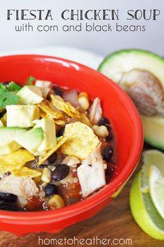 Fiesta Chicken Soup with Corn, Black Beans & Barley