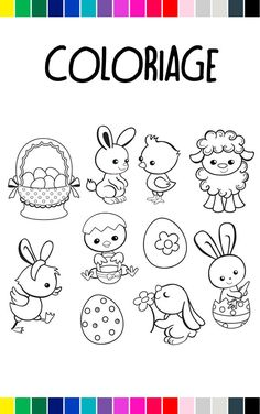 Easter Drawings, Cute Animal Drawings, Bunny Drawing, Drawing For Kids, Coloring Books, Coloring Pages, Cookie Images, Easter Pictures, Tattoos For Kids