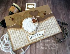 Blankina creations: Love Ewe free stamp of the month brown challenge