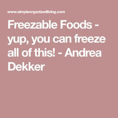 Freezable Foods - yup, you can freeze all of this! - Andrea Dekker