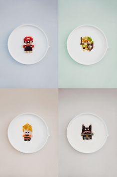 Graphic Salad recipe : Mario (tomatoes & mozzarella), DBZ (  mango, papaya, marshmallow), Batman(chocolate cake) & Zelda (avocado, mushrooms, yellow pepper)