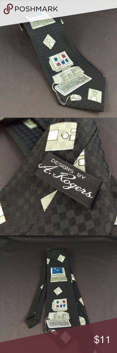 """Geeky Funny Computer Tie 58"""" Necktie Designs by A. Rogers Computer Funny Neck Tie  Excellent condition. Smoke free.  58"""" Length 4"""" Width   RT1 A. Rogers Accessories Ties"""