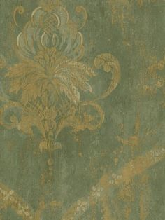 Damask Wallpaper - dining room accent wall