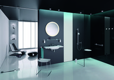 With System HEWI has launched a new accessories range on the market. The central design component is the fixing element, which is based on the basic shape of the circle. The round style element is combined with linear tubular design Bathroom Trends, Bathroom Spa, Design Bathroom, Bathroom Ideas, Wet Room Shower Tray, Open Showers, Glass Shower Enclosures, Small Bathtub, Wet Rooms