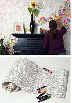 Coloring Book Walls...could you imagine if this was in Lisa Frank designs?