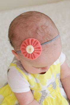 Handmade Modern Felt YoYo Flower Headband by PearlAndJewel on Etsy, $7.50