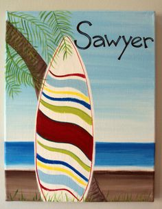 Personalized Surfboard Canvas Painting