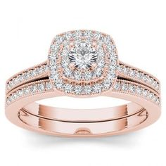 De Couer 14k Rose Gold 1/2ct TDW Diamond Double Halo Bridal Ring Set   Overstock.com Shopping - The Best Deals on Bridal Sets
