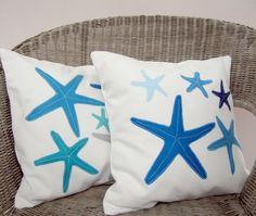 Beach cottage decor pillows: blue, grey turquoise starfish pillows, coastal decor. $88.00, via Etsy.