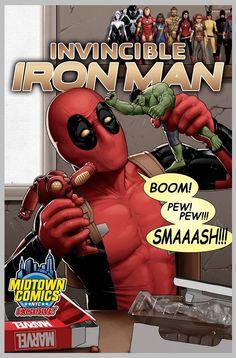 #Deadpool #Fan #Art. (Invincible Iron Man #1 Deadpool Variant - Midtown Comics Exclusive Cover) By: John Tyler Christopher. (THE * 3 * STÅR * ÅWARD OF: AW YEAH, IT'S MAJOR ÅWESOMENESS!!!™) [THANK U 4 PINNING!!!<·><]<©>ÅÅÅ+(OB4E)
