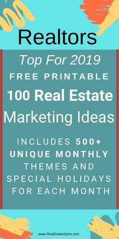 GUIDE: Real Estate Marketing Ideas & Strategies for Includes 2020 unique monthly themes and dates. Get Your 100 Real Estate Marketing FREE e-Guide PDF Real Estate Career, Real Estate Leads, Selling Real Estate, Real Estate Tips, Real Estate Investing, Real Estate Business Plan, Real Estate Broker, Investing Money, Real Estate Agent Websites