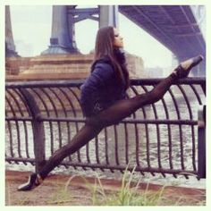 Misty Copeland, just casually stretching. I wish that I had her extension and…