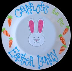 Easter Plate  Carrots for the Easter Bunny  by PassthePlate, $25.00