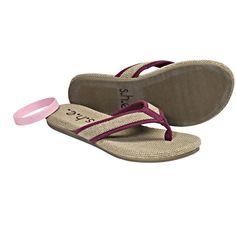 S.H.E. Hemp Sandals - Flip-Flops (For Women) in Burgundy