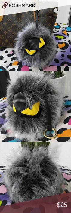 """HUGE monster Bug Purse Pom Pom Super cute brand new huuuuge monster Bug eye pom pom!! Super cute for your purse or keys. He is giant!!!  Louis Vuitton not included just using to show size   Pom is approx 7"""" wide  No trades Accessories"""