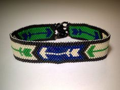 20% SALE! Use code SPRING2016! Blue and Green Arrow Peyote Bracelet