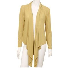 fa694f57d7 Mustard Yellow Long Sleeve Flowing Shrug Sweater No. 1 Funwear Factory.   26.99