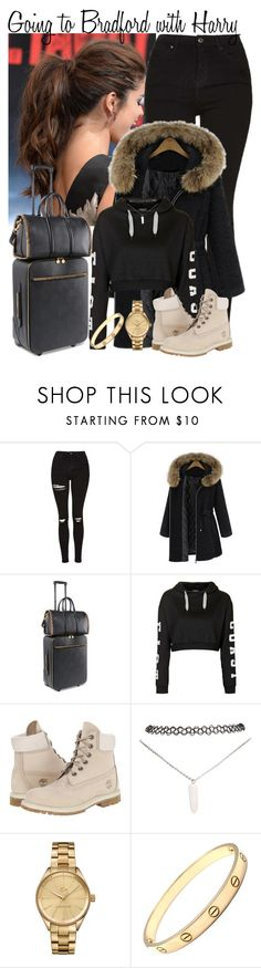 """32. Going to Bradford with Harry"" by queenxxbee ❤ liked on Polyvore featuring Topshop, STELLA McCARTNEY, Timberland, Wet Seal, Lacoste and Cartier"