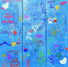 Wedding Reception DoodleJam (Pete and Kate) 3x 12in x 36in Doodle (team building, ice breaker, wedding reception, fundraiser - Noosa, Sunshine Coast, Brisbane and Gold Coast)  - inspirational group paintings using doodles #DoodleJam http://www.doodlejam.com
