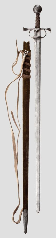 Arming Sword Dated: circa 1530-50 There's a pair of faceted arms carrying at their head an inverted U-shaped bar ridged made en suite with the quillon terminals. The hilt of the sword is a variation of the Type 16 discussed in A.V.B. Norman, The Rapier and Small-Sword 1460-1820, London 1980, pp. 80-82. A sword with a very closely comparable hilt is alternatively given a Spanish late 15th century attribution by Oakeshott. Type XVIIIc