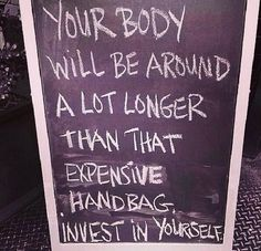 "I wish I could tell this to every woman that tells me they can't afford training. Really? But you're ""so sick of your body""....INVEST IN YOURSELF!!!!! You're worth it! The purse isn't."