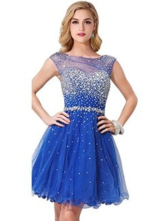 MisShow Sparkly Crystal Short Prom Homecoming Dresses for...