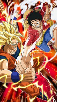 anime Dragon Ball Z, One Piece Chapter, Goku Vs, One Piece Luffy, Monkey D Luffy, Anime One, Anime Crossover, Son Goku, One Pic