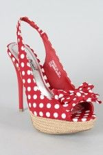 These remind me of some shoes I used to have.  Who wouldn't love red polka dot shoes?