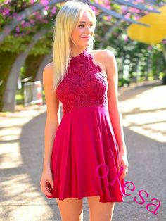 Charming Homecoming Dress Chiffon Homecoming Dress Lace Homecoming Dress Halter Homecoming Dress