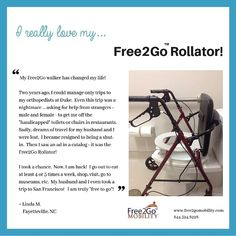 """I became resigned to being a shut-in. Then I saw an ad in a catalog and it was the Rollator! I am truly free to go! Bathroom Safety, Muscular Dystrophies, Portable Toilet, Elderly Care, Ask For Help, Multiple Sclerosis, Ibm, Caregiver, Arthritis"