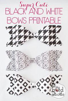 Super Cute Black and White Bows FREE PRINTABLE- The Bold Abode gift, white bow, free printabl, black and white printables, printable bow, bow free