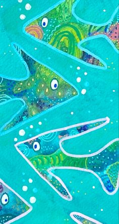 Mixed media artwork inspired by the Australian oceans by artist Anna Just Mixed Media Artwork, Mixed Media Artists, Tropical Fish, Oceans, Vibrant, Anna, Inspired, Abstract, Outdoor Decor