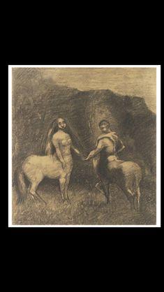 "Odilon Redon - ""Centaure et Centauresse"", c. 1885/1890 - Charcoal on buff paper - 36,2 x 33,7  cm (*1)"