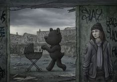Where Nightmares Roam by jflaxman on DeviantArt Slasher Movies, Baby Carriage, Human Mind, Thinking Outside The Box, Macabre, Surrealism, Chihuahua, Old School, Scene