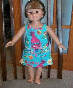 American 18 Inch Doll Clothes dress blue with Trolls on it by sue18inchdollclothes on Etsy