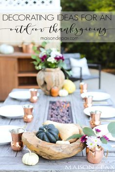 Outdoor Thanksgiving Table (and how to decorate for Thanksgiving with grocery store items) - Maison de Pax