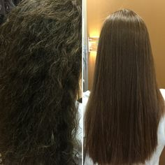 Before and after Japanese hair straightening. Japanese Hair Straightening, Hair Straightening Iron, Frizz Free Hair, Orland Park, Black Curly Hair, Damaged Hair, Curly Hairstyles, Straightener, Hair And Nails