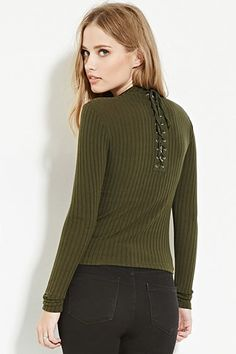 Lace-Up Back Top   Forever 21 - 2000183184