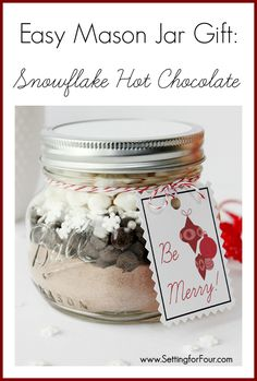 Easy DIY Jar Craft - Christmas Mason Jar Gift Idea filled with Snowflake Hot Chocolate! | www.settingforfour.com