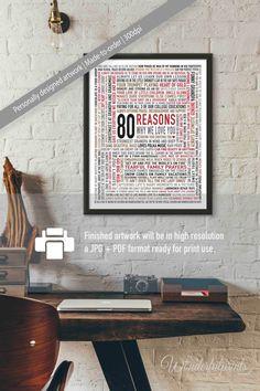 Custom 80th Birthday Gift for DAD / 80 Reasons by WonderfulPrints