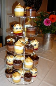 Dessert Tower with individual desserts...Salted caramel mousse, Lemon meringue, Trifle and Chocolate Mousse Tortes