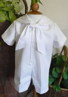 White Twill Nautical Christening Suit (small (0-6 months)) one piece. nautical styling trimmed with white twill tape. buttons in the front. white twill fabric. Nautical twill tie in the front.  #Anna_Bouché #Baby_Product