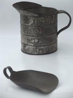 antique kitchen tinware, old tin measure & scoop, vintage  kitchenware